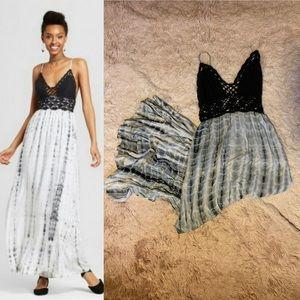 Crochet Top Tie-dye Maxi Dress